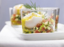 Weight Watchers Eggs in a Glass with Spicy Vegetable Salsa recipe